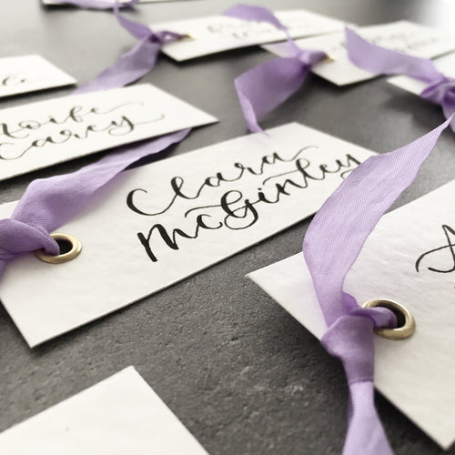 Purple Silk Place Cards
