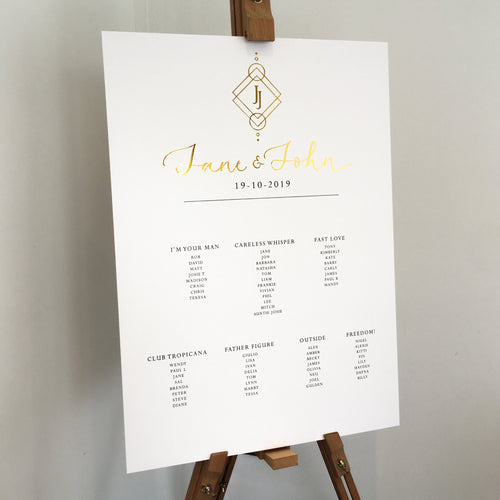 Gold wedding seating chart