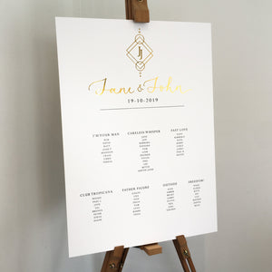 Boho Table Plan with Gold Foil