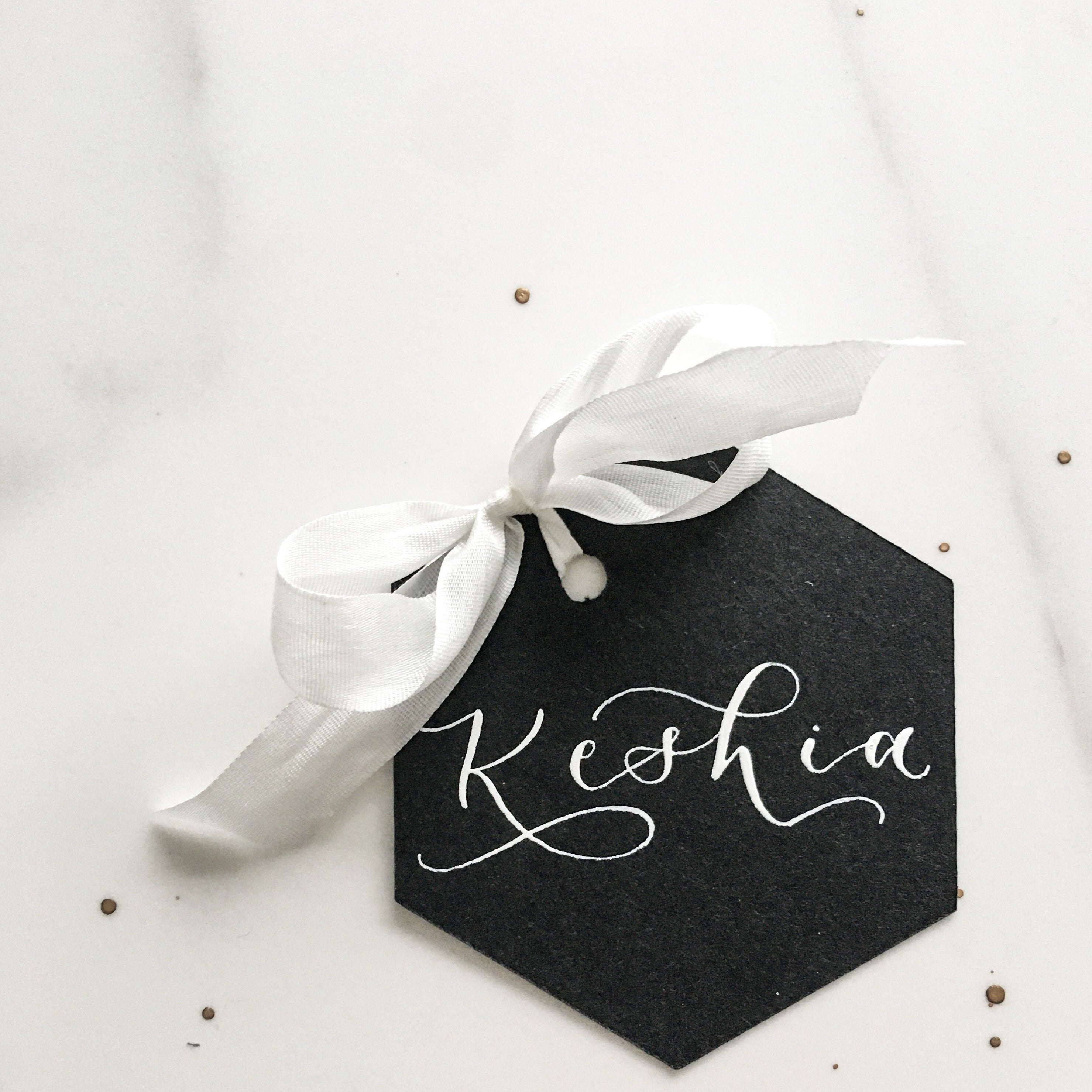 Black Hexagon Place Cards