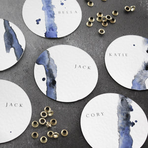 Blue Watercolour Wedding Place Cards