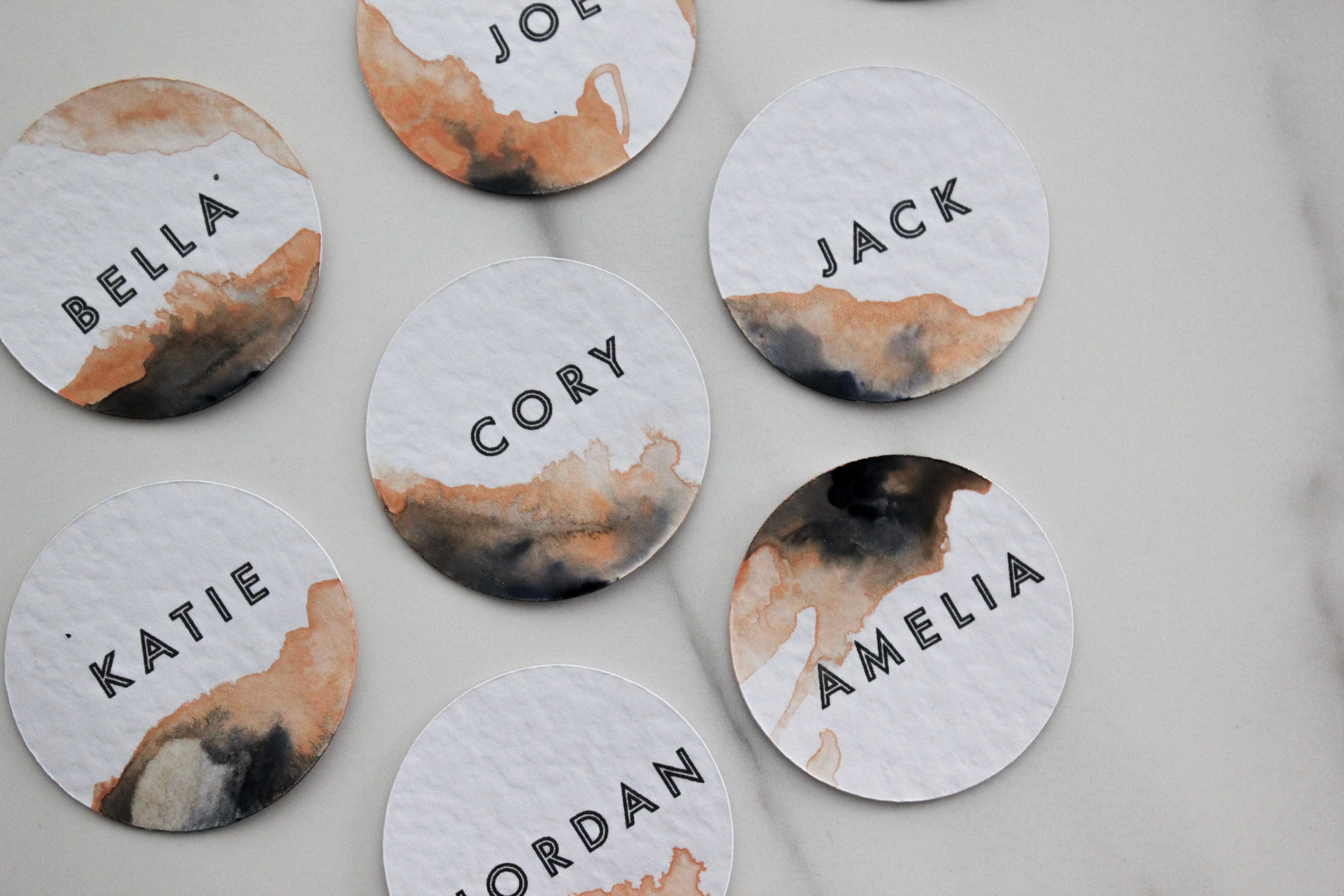 Peach Watercolour Place Cards