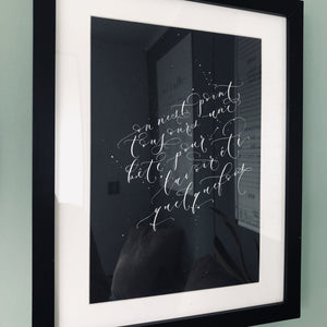 Modern calligraphy song lyrics