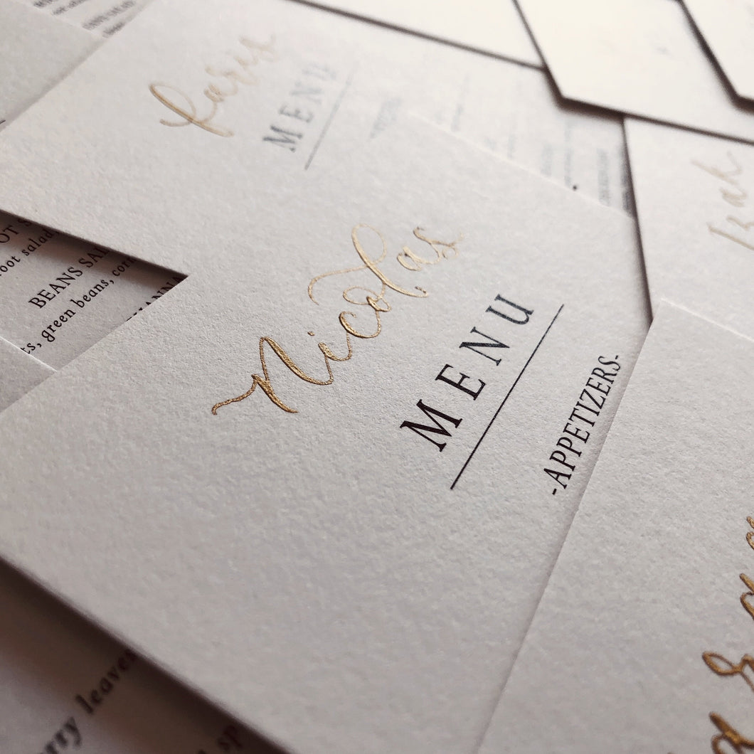 Personalised Wedding Menu