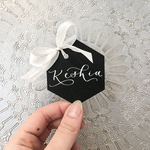 geometric name tags wedding