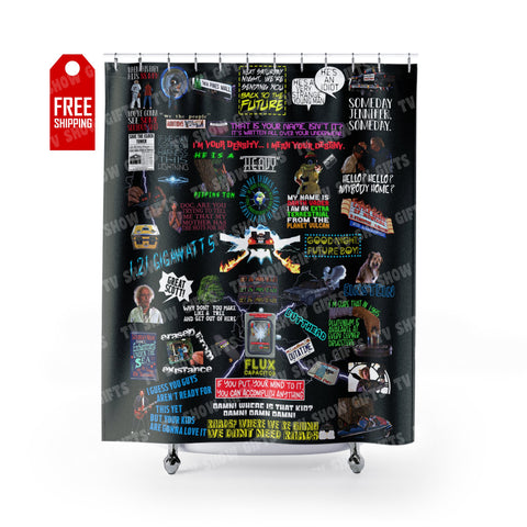 "Back To The Future Shower Curtain Home Decor TVShowGifts 71"" x 74"""