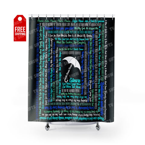 "Gilmore Girls Shower Curtain - Quotes Home Decor TVShowGifts 71"" x 74"""