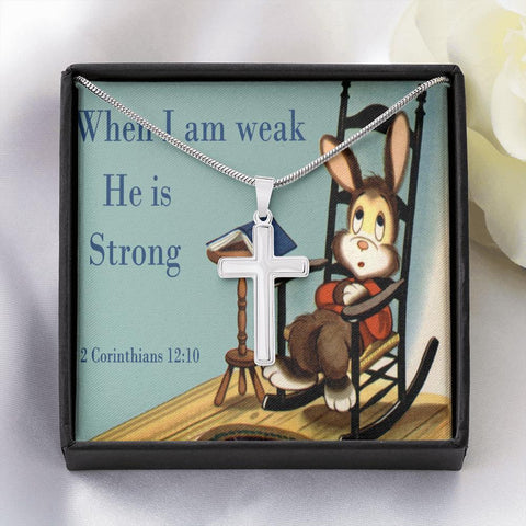 He Is Strong Cross Necklace Jewelry TVShowGifts