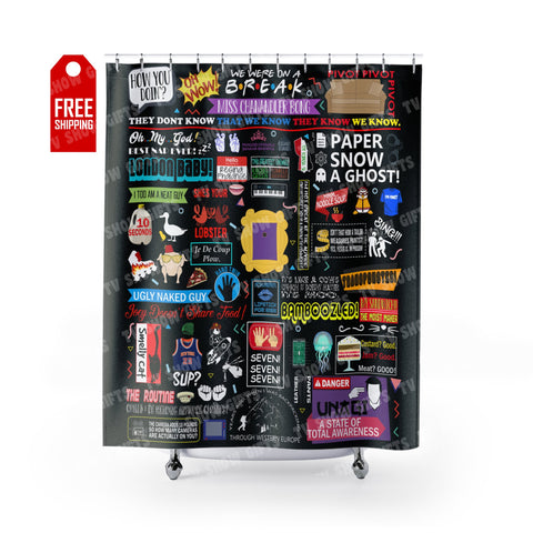 "The Friends Shower Curtain Home Decor TVShowGifts 71"" x 74"""