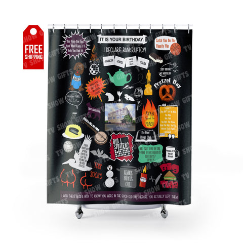 "The Office Shower Curtain - Black Home Decor TVShowGifts 71"" x 74"""