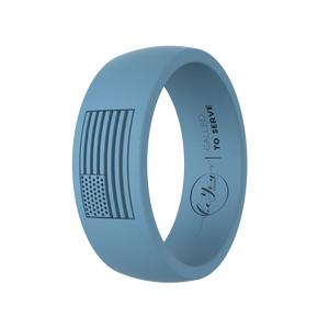 """Seaside Blue"" Men's America Called To Serve Silicone Rings"