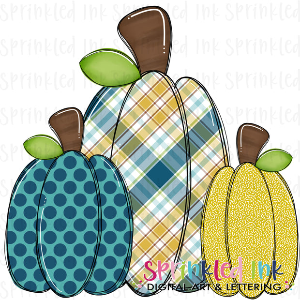 Watercolor PNG Boys Squishy Pumpkin Trio Download File