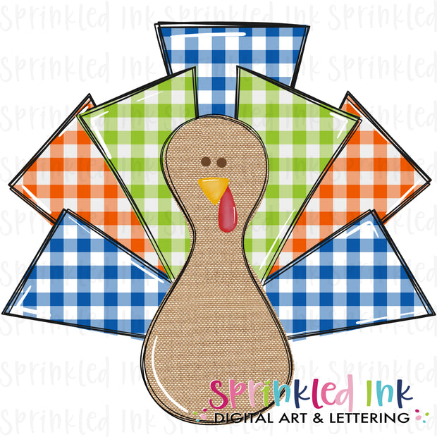 Watercolor PNG Boys Turkey Lurkey Gingham Download File