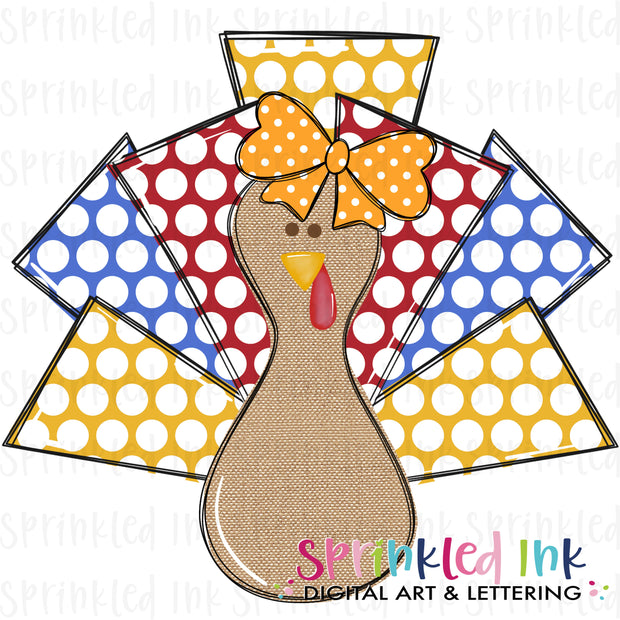 Watercolor PNG Girls Turkey Lurkey Fall Dots Download File