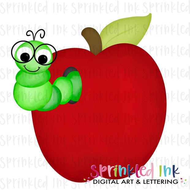 Watercolor PNG BOYS School Bookworm in Apple Digital Download File