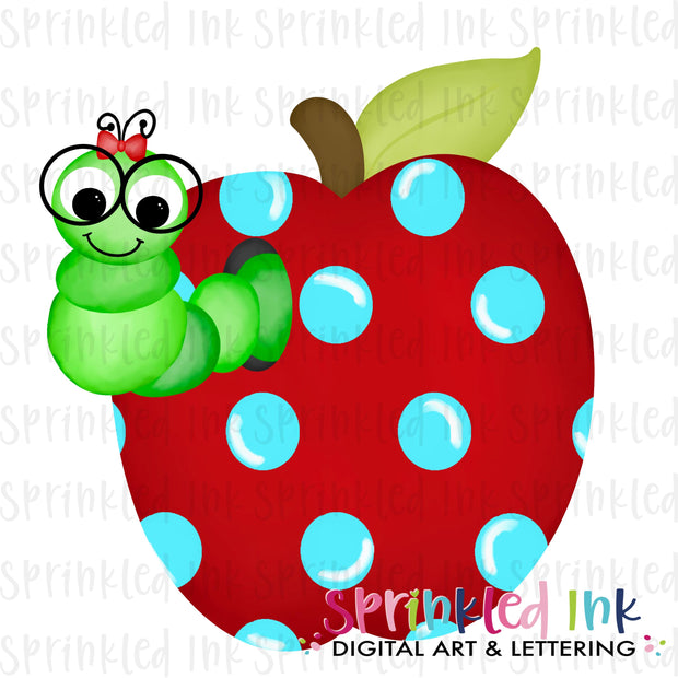 Watercolor PNG GIRLS School Bookworm in Apple Digital Download File