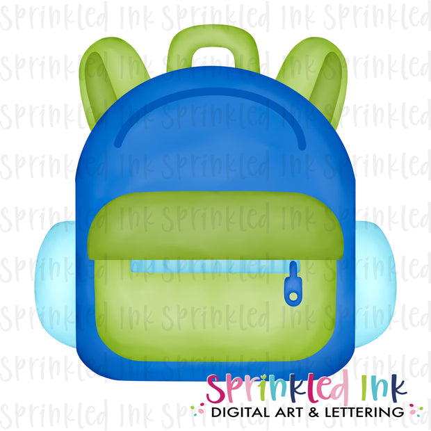 Watercolor PNG Blue Back to School Backpack Digital Download File