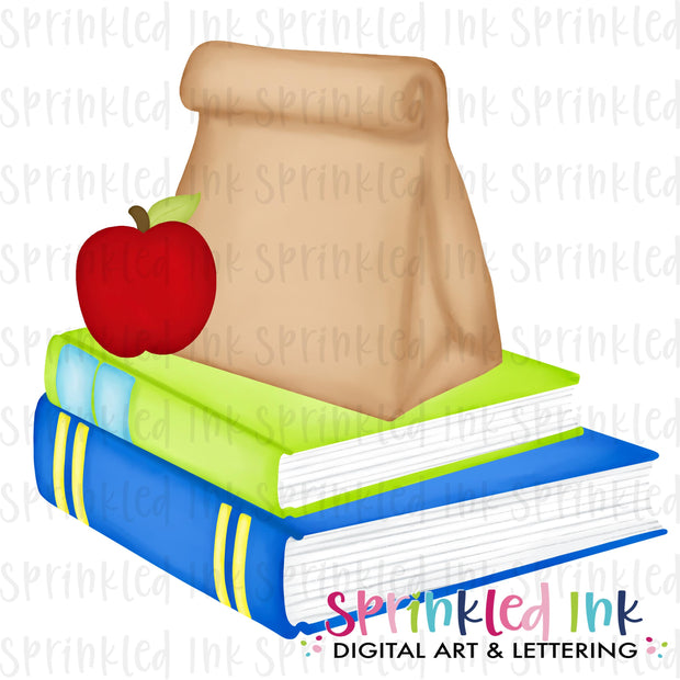 Watercolor PNG Blue Stack of Books and Lunch Digital Download File
