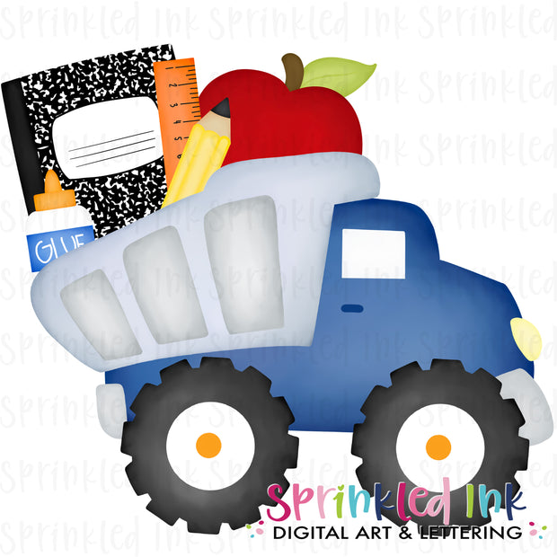 Watercolor PNG Blue Dump Truck with School Supplies Digital Download File
