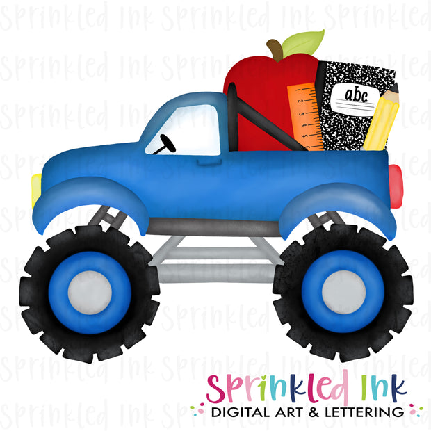 Watercolor PNG Blue Monster Truck with School Supplies Digital Download File