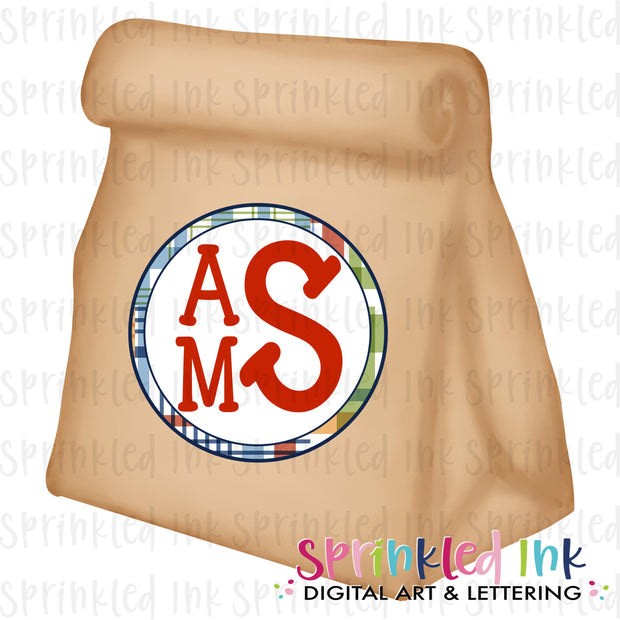 Watercolor PNG Boys Madras Circle Monogram Brown Bag Lunch Digital Download File