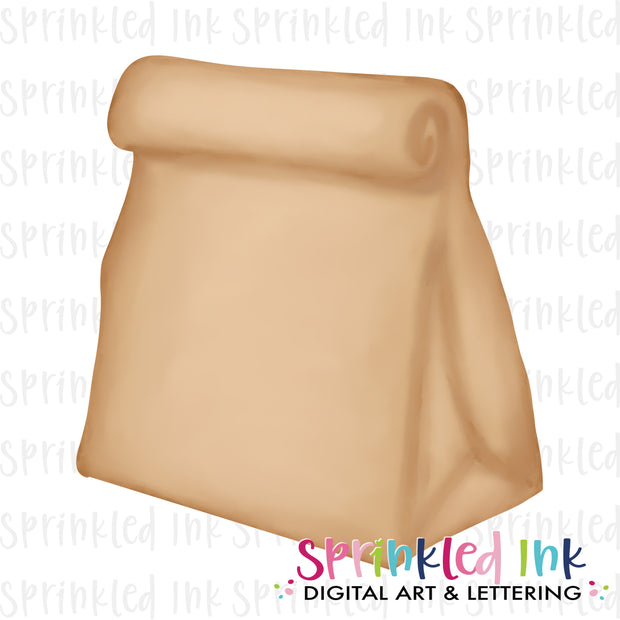 Watercolor PNG Brown Bag Lunch Digital Download File