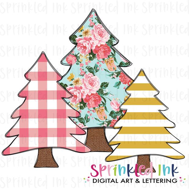 Watercolor PNG M2M MJ Oct. 2020 Christmas Tree Trio Download File