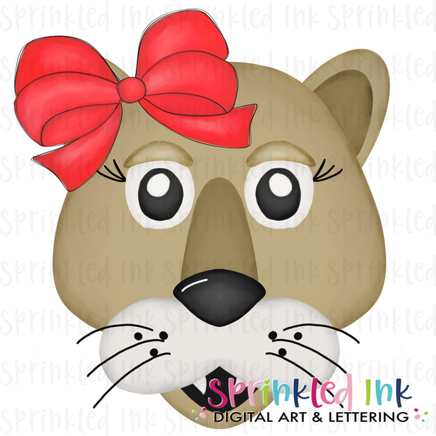 Watercolor PNG |MASCOT| Cougar with Red Bow Download File