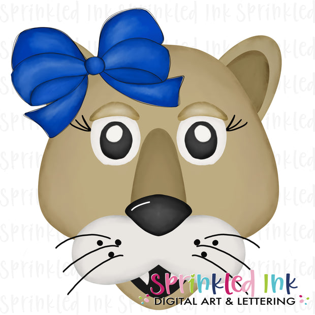 Watercolor PNG |MASCOT| Cougar with Blue Bow Download File