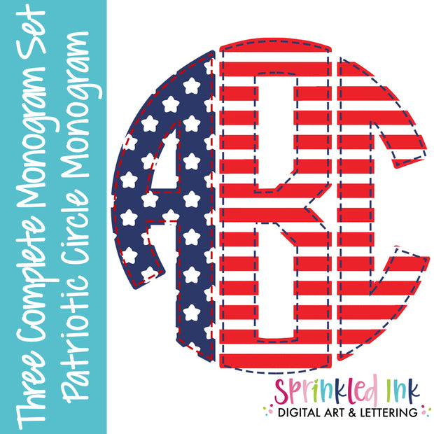 Watercolor PNG Patriotic 3 Letter Faux Applique Circle Monogram Set Digital Download File - Sprinkled Ink Digital Designs