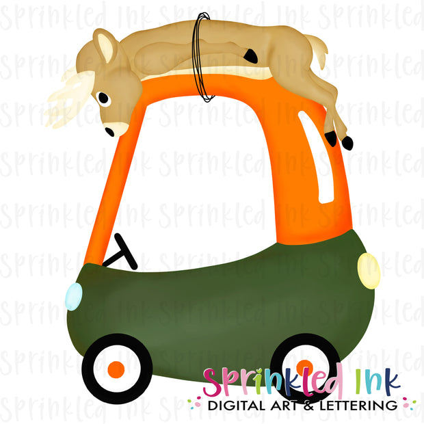 Watercolor PNG Deer Hunting Cozy Coupe Digital Download File