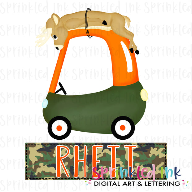 Watercolor PNG Deer Hunting Cozy Coupe with Nameplate Digital Download File