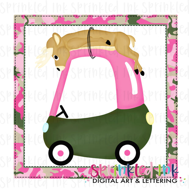 Watercolor PNG Deer Hunting Cozy Coupe Background Digital Download File