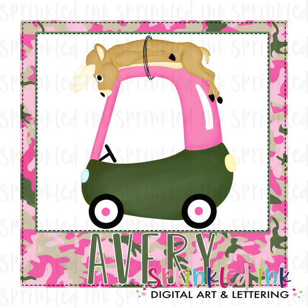 Watercolor PNG Deer Hunting Cozy Coupe Nameplate Background Digital Download File