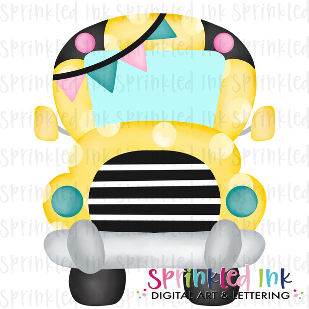 Watercolor PNG Polka Dot School Bus with Girl Banner Digital Download File