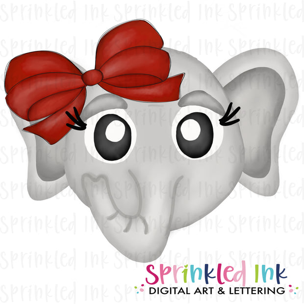 Watercolor PNG |MASCOT| Bama Elephant ROLL TIDE with Crimson Bow Download File