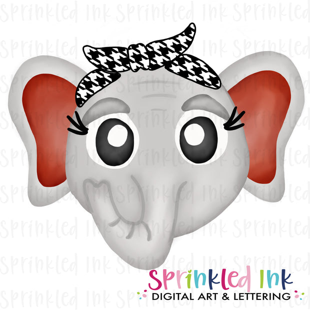 Watercolor PNG |MASCOT| Bama Elephant ROLL TIDE with Houndstooth Bandana Download File