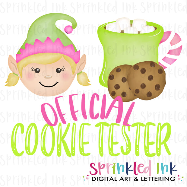 Watercolor PNG Official Cookie Tester Elf Download File