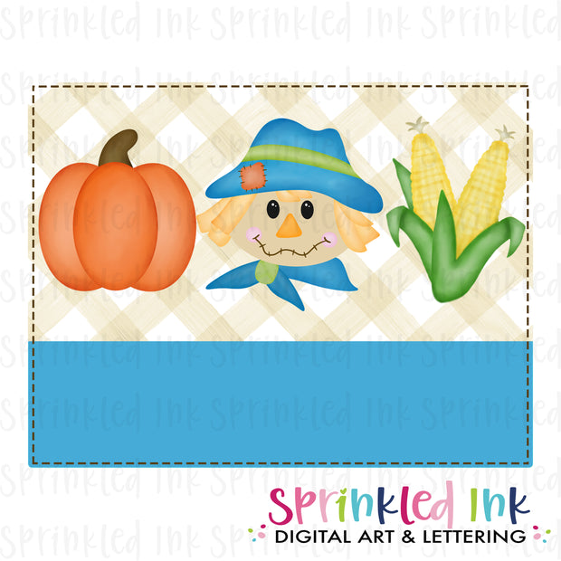 Watercolor PNG Fall Background Scarecrow Trio Digital Download File