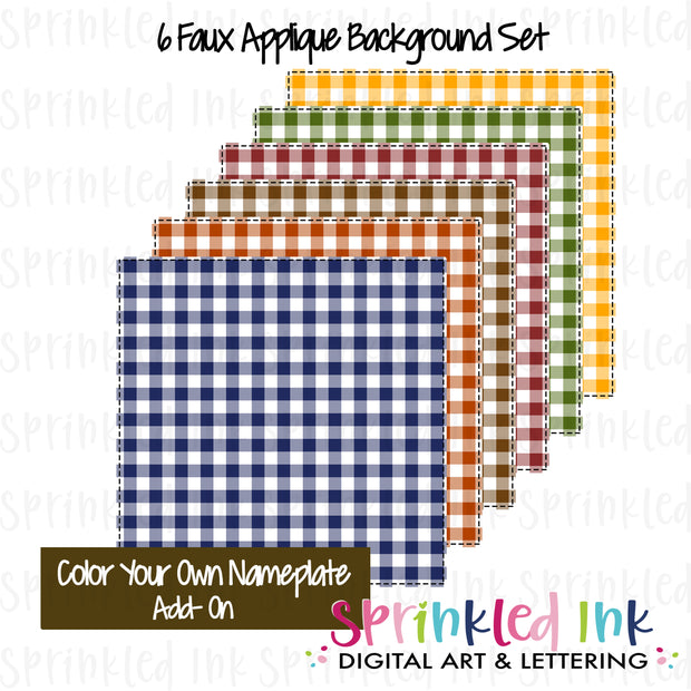 Watercolor PNG Faux Applique FALL Harvest Gingham Background Set Digital Download File