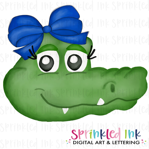 Watercolor PNG |MASCOT| Gator with Blue Bow Download File