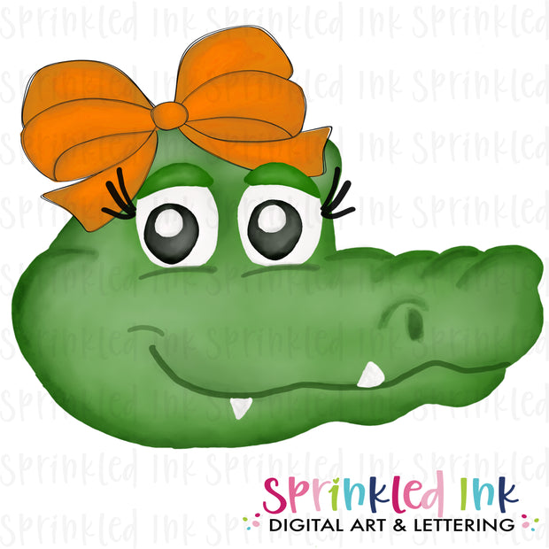 Watercolor PNG |MASCOT| Gator with Orange Bow Download File