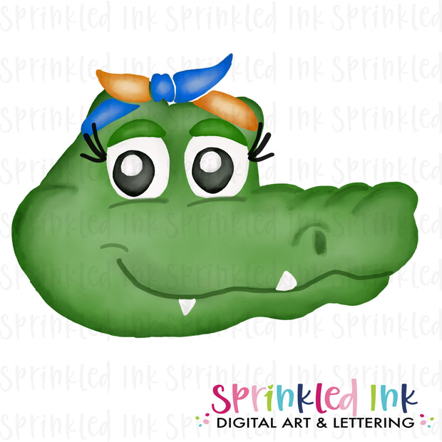 Watercolor PNG |MASCOT| Gator with Orange and Blue Bandana Download File