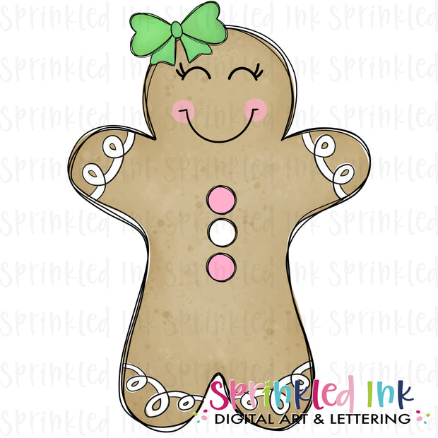 Watercolor PNG Gingerbread Girl Doodle Download File
