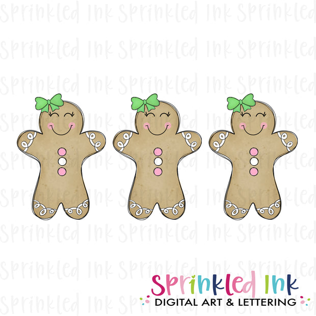Watercolor PNG Gingerbread Doodle Trio Download File