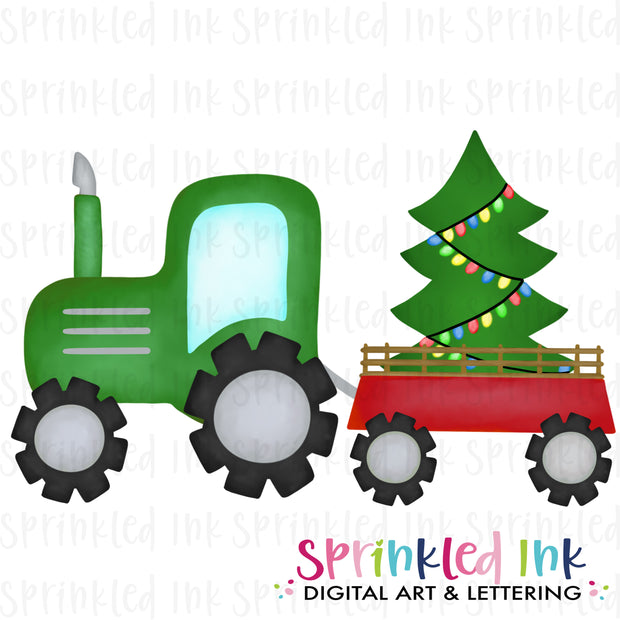 Watercolor PNG Green Tractor with Christmas Tree Download File