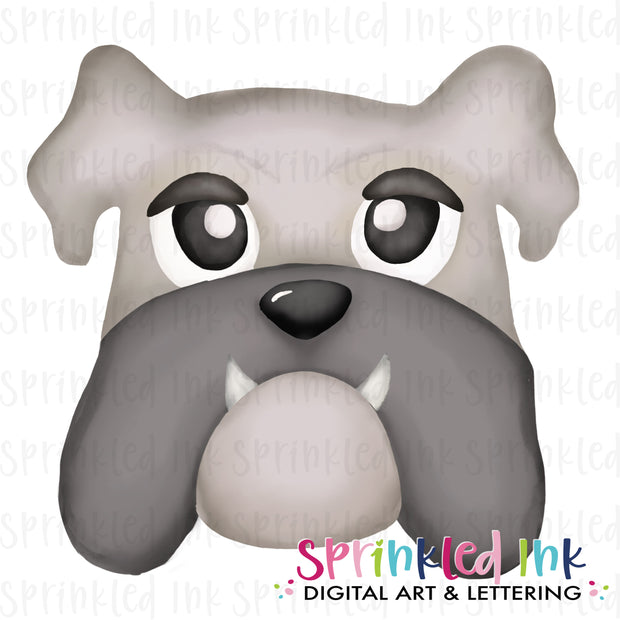Watercolor PNG |MASCOT| Grey Bulldog Boy Download File