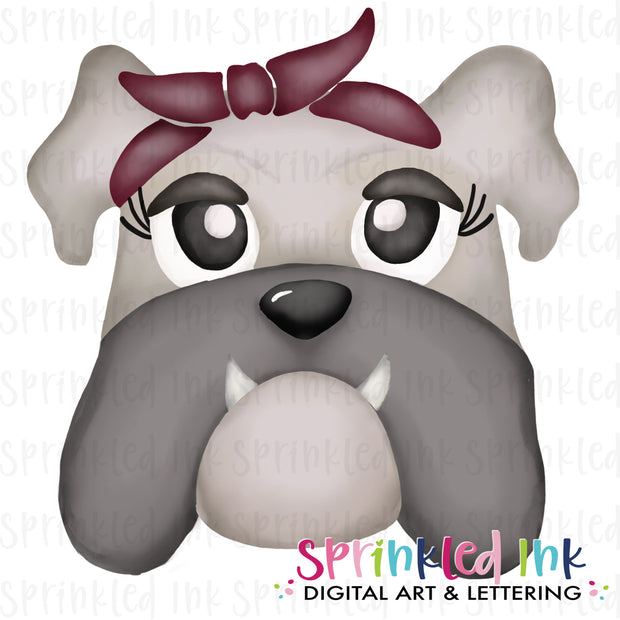 Watercolor PNG |MASCOT| Grey Bulldog with Maroon Bandana Download File