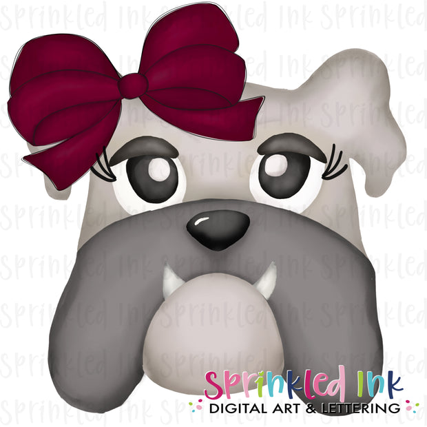 Watercolor PNG |MASCOT| Grey Bulldog with Maroon Bow Download File