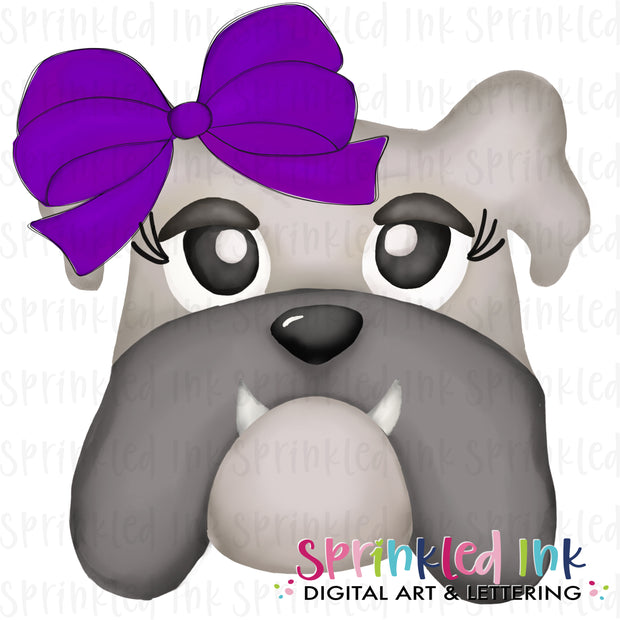 Watercolor PNG |MASCOT| Grey Bulldog with Purple Bow Download File